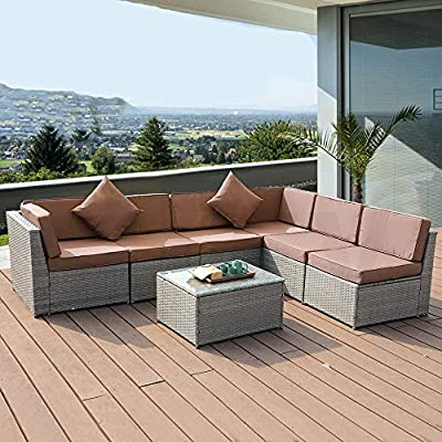 UEV Patio Conversation Sectional Sofas - 7 Piece All-Weather Grey Checkered Wicker Rattan Seating Cushion Patio Ottoman with Modern Glass Coffee Table (Brown)