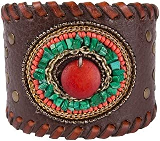 Noble Outfitters Womens Leather Beaded Horizon Cuff Bracelet