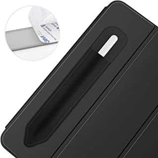 Black UTOPER Leather Case for Apple Pencil Holder with Charging Adapter Pocket Elastic Detachable Genuine Leather Cover for Apple Pencil 1 st /& 2 nd Gen Stylus Pen Pouch