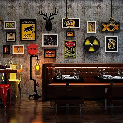 Set fotolijsten voor wandmontage, meervoudig, wandmontage, met wandklok voor radiostraling en 3D-eland, zwart, 16 stuks