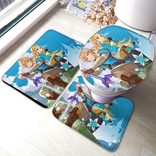 xinping Legend of Zelda - Juego de alfombrillas de baño (3 piezas, juego de alfombras de baño y almohadillas absorbentes para baño y esterilla, antiesqueles).