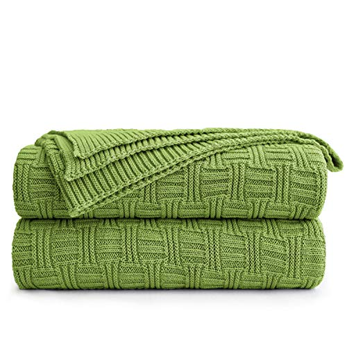Large 100% Cotton Green Cable Knit Throw Blanket for Couch Sofa Bed with Bonus Laundering Bag – 60 x 80 Thick, 3.4 LB, Machine Washable, Comfortable Home Décor