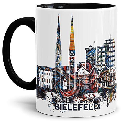 Tassendruck Bielefeld-Tasse Skyline - Kaffeetasse/Silhouette/Souvenir/Städte-Tasse/Mug/Cup/Becher/Beste Qualität - 25 Jahre Erfahrung - Innen & Henkel Schwarz