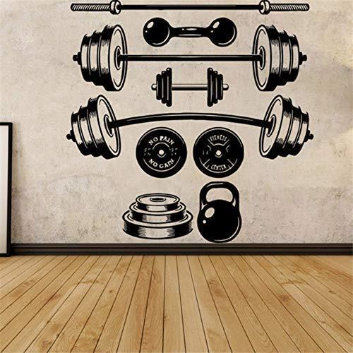 Etiqueta Engomada Del Vinilo De La Decoración De La Pared Etiqueta Engomada Del Mural Logo Dumbbell Gym Workout Mural Etiqueta Engomada Del Vinilo De La Pared Desmontable 59X58Cm