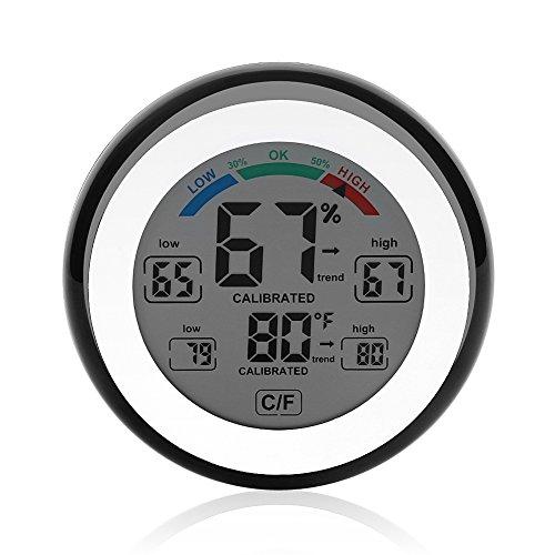 Preisvergleich Produktbild Luftfeuchtigkeit Temperatur Meter Touchscreen Indoor Digital Hygrometer Thermometer LCD Hintergrundbeleuchtung Display mit Magnetic Back Küche Countdown Timer(Schwarz)