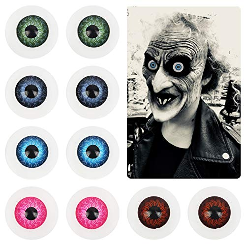 ZERHOK Halloween Augäpfel, 10 Stück Halbrunde Gruselige Augen Horrormaske Schädel Kostüm Prop Realistisches Auge für Halloween Haunted House Vampir Zombie Cosplay Requisiten (20mm)