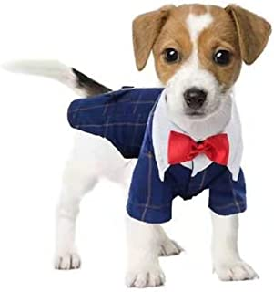 THREEDOG Dog Tuxedo Suit,red Fashion Dress Dog Clothes for Wedding Party,Dog Checked Shirt pet Dress with Bow tie for Birt...