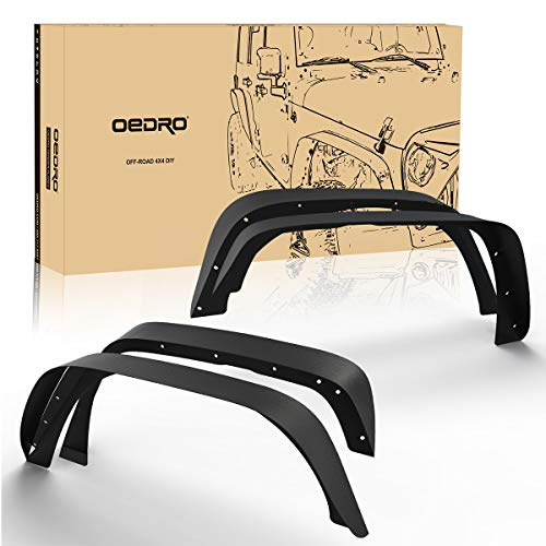 oEdRo Solid Steel Fender Flares Compatible with 2007-2018 Jeep Wrangler JK & Unlimited Off-Road Front & Rear Flat 4 PCS Set