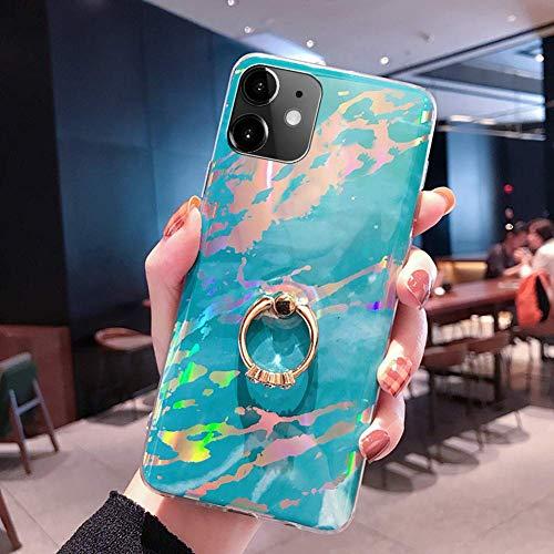 NSSTAR Compatible avec iPhone 11 Coque 3D Motif Marbre Coque Souple TPU Case avec Support Bling Glitter Diamant Strass Coque Silicone Ultra-Mince Antichoc Bumper Etui,Bleu