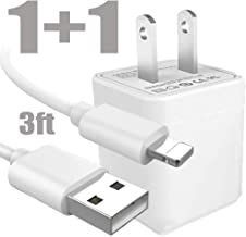 Phone Charging Kit, 3FT Nylon Braided Cable USB Charger Cord with Wall Adapter AC Brick Plug - Сompatible with 11 Xs MAX XR X 8 7 6S 6 Plus SE 5S 5C 5, Pad, Pod - White
