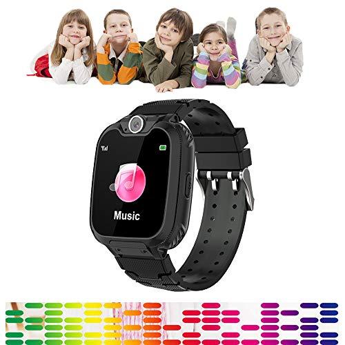 Full Screen Kinderen Smart Phone Horloge Gaming, Touch Kleur Scherm Jongens Meisjes Smartwatch 300.000 Pixels HD Camera 84 graden groothoek Lens, Muziek spelen, Gaming, Opnemen, Geen behoefte App, Zwart