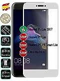 Movilrey Protector para Huawei P8 Lite 2017 Blanco Completo 3D Cristal Templado de Pantalla Vidrio Curvo para movil