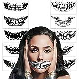 HOWAF 10Hojas Tatuajes Temporales de Halloween,Impermeables tatuaje temporal de calavera para fiestas de carnaval, Halloween, maquillaje, accesorios para adultos hombres y mujeres