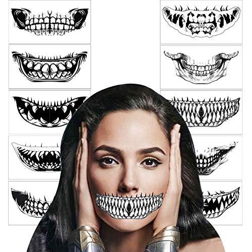 HOWAF tatuajes de Halloween para adultos, hombres, mujeres,