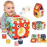 ATCRINICT 6-in-1 Aktivitätswürfel Babyspielzeug für 6-18 Monate Alte Kinder, Musikspielzeug für Kleinkind, Frühes Lernen Lernspielzeug Geschenk für 1 2 3 Jahre Alte Jungen und Mädchen