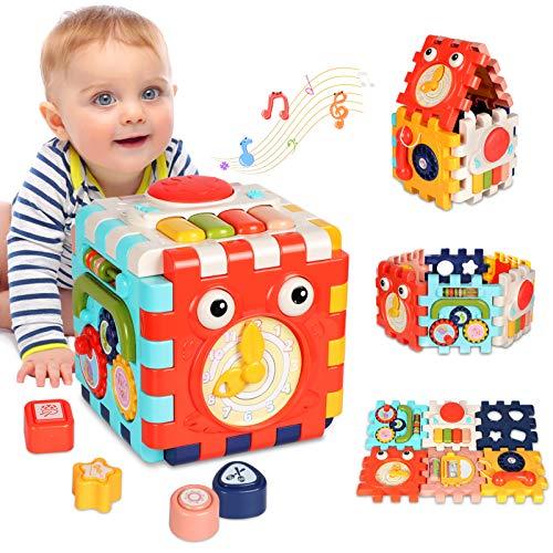 ATCRINICT Juguetes para Bebé 6-18 Meses Juguete Cubo de Actividades para Bebé, Juguete Educativo de Aprendizaje temprano 6 en 1,Mejores Juguetes de Regalo para Niños y Niñas Pequeños de 1 2 3 4 años