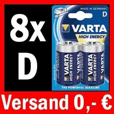 8 x MONO D LR20 BATTERIE VARTA HIGH ENERGY