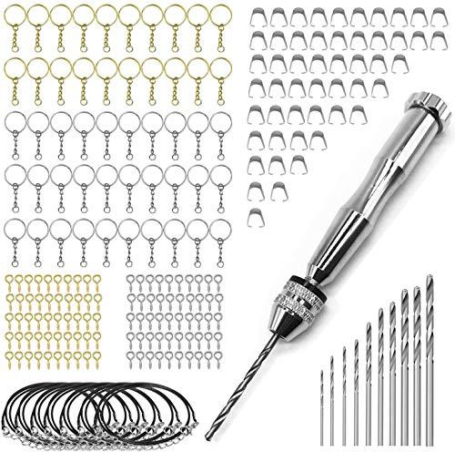 Woohome 122 Pz Mini Taladro Manual Kit y Brocas Helicoidales, Hebilla, Llavero y Cuerda de Cera Negra para Hacer Artesanías de Joyería DIY
