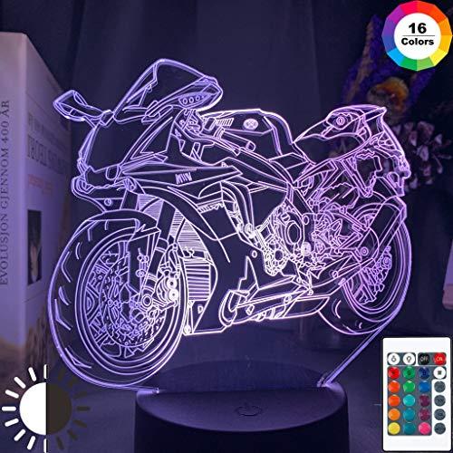Sanzangtang Led-nachtlampje, 3D-vision-septkleuren, afstandsbediening, cool motorfiets, kinderen, nachtlampje, kinderkamer, decoratie, uniek geschenk, verjaardag, studie, kantoor, licht, motorfiets
