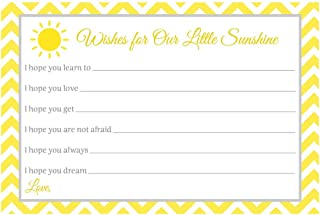 Wish for Baby Cards Gender Neutral Baby Shower Spot of Sunshine Bright Yellow Unisex Fun Unique Sun Chevron Stripes White Prayers Hopes Dreams Wishes for Babies (24 Count)