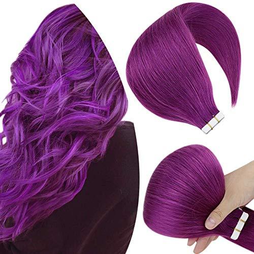 Hetto 12 Pollici Nastro in Capelli Umani Dritti Estensioni 20G 10Pcs/Pack Tape Hair Extensions Allungamento Viola Tape Extension Adesive Capelli Veri