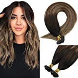 Sunny Keratin Tip Hair Extensions Human Hair for Woman Ombre Natural Black to Dark Ash Blonde U Tip Real Hair Extensions Fusion Human Hair 18inch 1G/Strand 50G/Pack