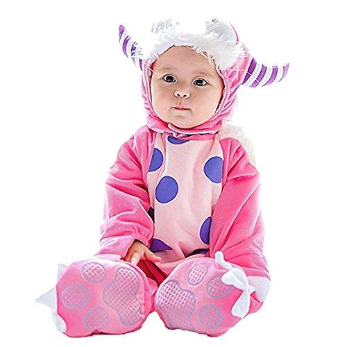 Lazzboy Kostüm Baby Halloween Tierkostüm mit Kapuze Body Footies Strampler Outfit(Höhe 90,Rosa)