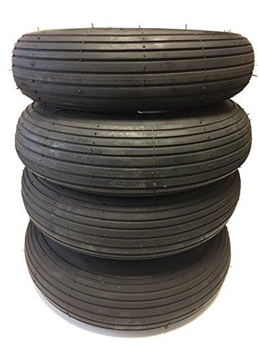 4x Set Reifen und Schläuche SOBEK,4.00-8 bzw. 4.80/4.00-8 (400x100) für Tret GoKarts, stabiler Reifenaufbau, Leichtlaufprofil Rille, Tragkraft pro Reifen 165 kg für Dino oder Berg GoKarts