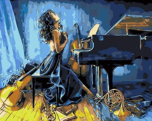 SFFLILY Schilderen op nummer-voorbedrukte canvas-olieverfschilderij cadeau voor volwassenen kinderen kits huis decoratie - lange rok meisje pianogitaar 30x40cm