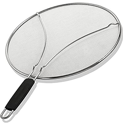 "Grease Splatter Screen for Frying Pan 13"" - Stops 99% of Hot Oil Splash - Protects Skin from Burns - Splatter Guard for Cooking - Iron Skillet Lid Keeps Kitchen Clean - Stainless Steel"