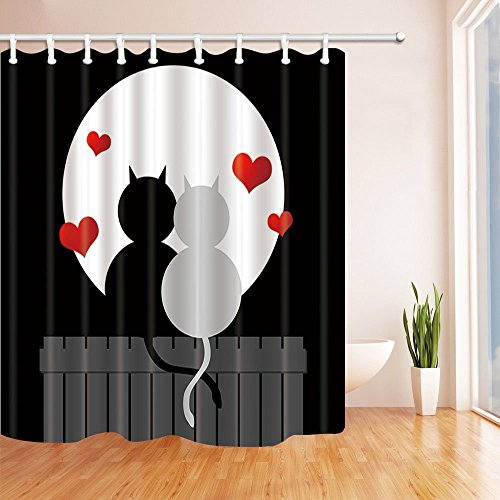 ottbrn Naive Valentijnsdag Decor Katten Fall in Love onder Maan Douche Gordijn 72X72 inch Polyester Stof Badkamer Fantastische Decoraties Bad Gordijnen Haken Inbegrepen