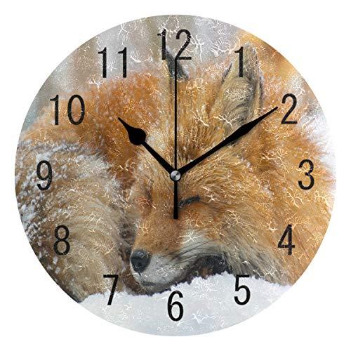 Use7 Wanduhr, rund, Acryl, Schnee, lustig, Fuchs, geräuschlos, für Wohnzimmer, Küche, Schlafzimmer