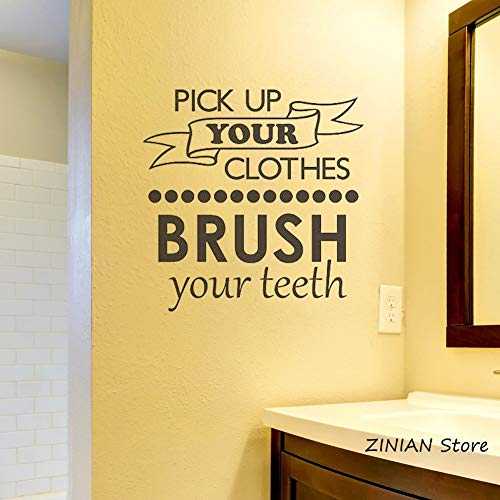 yaonuli huisorde badkamer sticker wandsticker poetsen uw tanden wandtattoo beweeglijke kunst kleding af