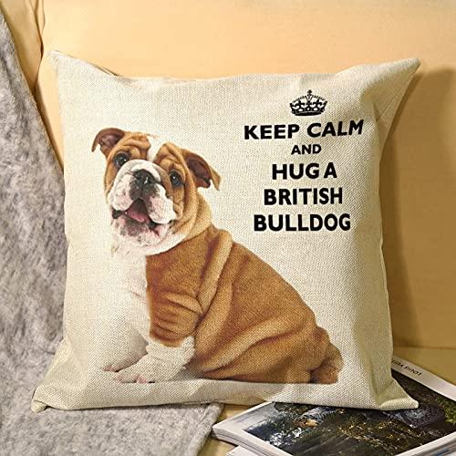 happygoluck1y Fundas de almohada decorativas de lino y algodón con diseño de bulldog británico, de 45,7 x 45,7 cm, para decoración del hogar, para niñas, mamá, papá