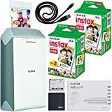 Fujifilm instax Share Smartphone Printer SP-2 (Silver) + Fujifilm Instax Mini Twin Pack Instant Film (40 Shots) + AOM Microfiber Cloth Bundle Kit