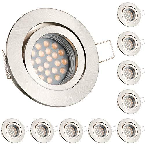 Preisvergleich Produktbild 10er LED Einbaustrahler Set mit LED GU10 Markenstrahler - dimmbar - von LEDANDO - 5W - schwenkbar - warmweiss - 60° Abstrahlwinkel - A+ - 50W Ersatz - silber gebürstet