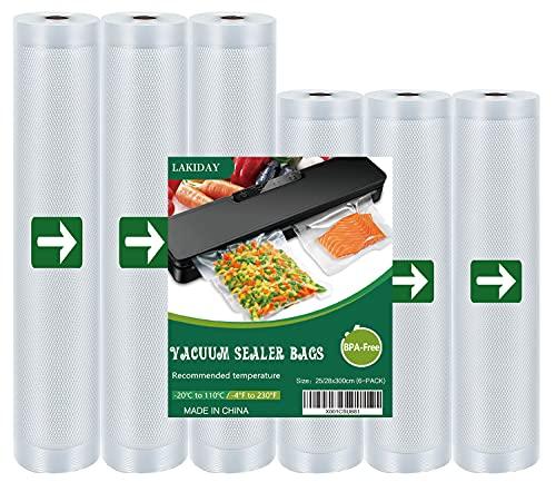 Bolsas de envasado al vacío Lakiday, 6 rollos de papel de aluminio (3) 20 x 600 cm y (3) 28 x 600 cm bolsas de vacío para alimentos, sin BPA, dispositivo de envasado al vacío profesional