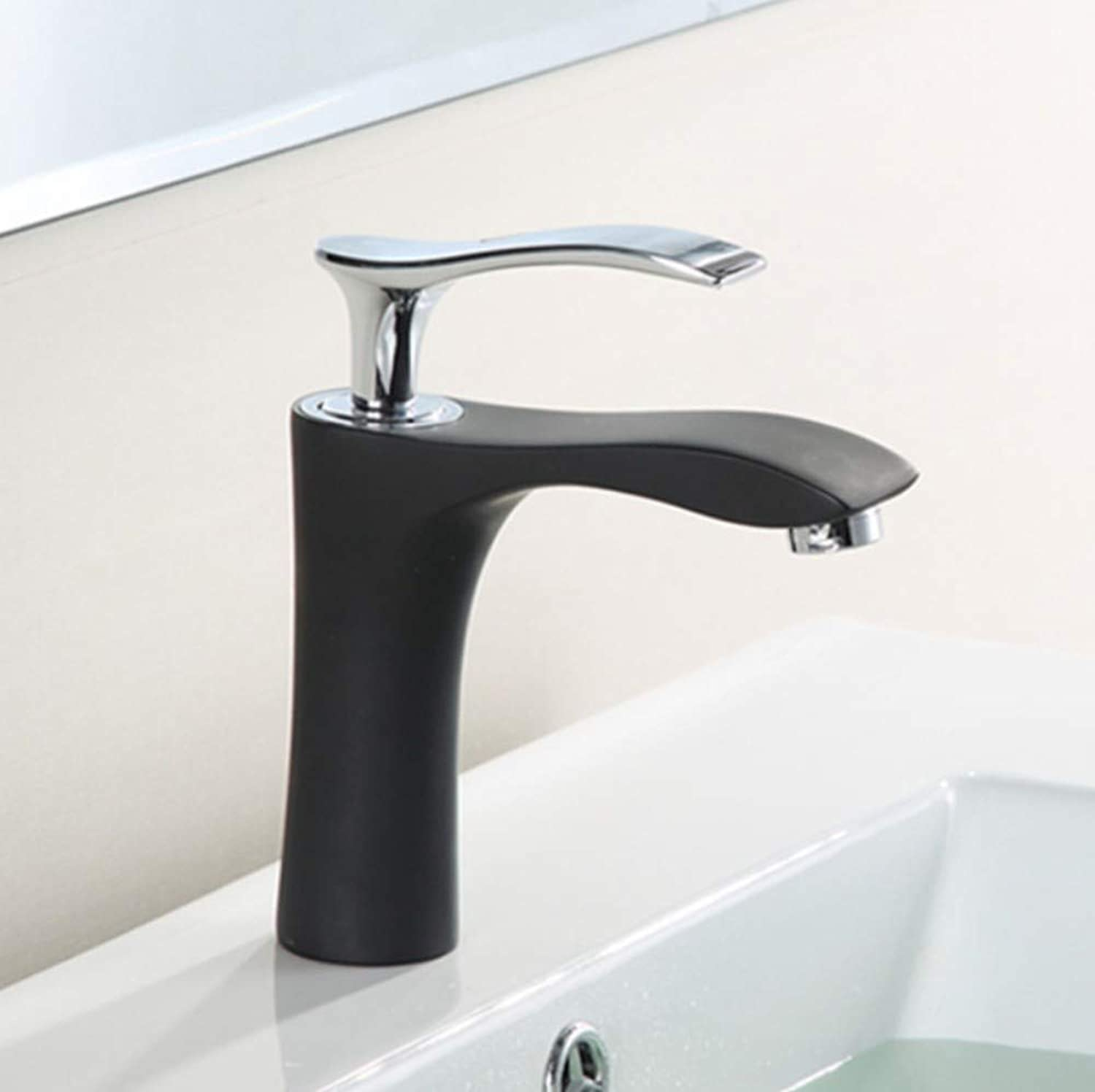 Bathroom Sink Basin Lever Mixer Tap Black Matte Grinding Paint Cold and Hot Water Faucet Washbasin Table Basin Basin Round Faucet