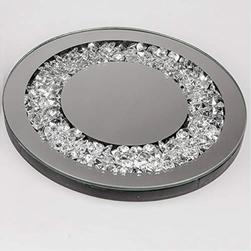 Dekotablett rund Ø 20 Spiegelplatte und Strass Spiegel Tablett Kerzentablett