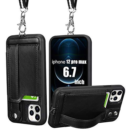 iphone12pro max ケース 手帳型 iphone12promax ケース ストラップ iphone 12 pro max ケース おしゃれ カード ベルト付き 耐衝撃 MIL規格 6.7インチ 2020新型 黒