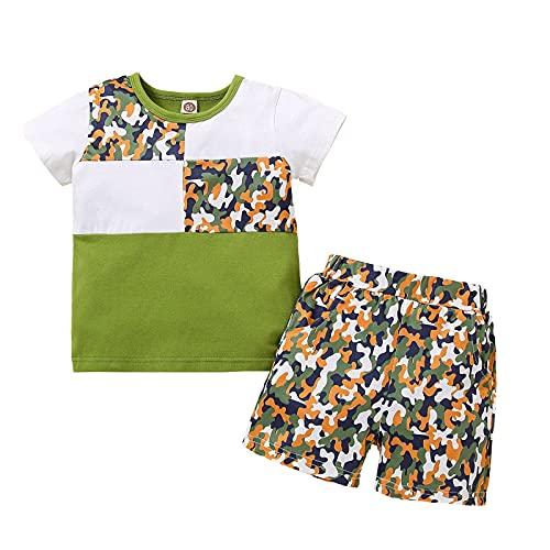 Briskorry Conjunto de ropa para bebé y niño, de manga corta, con estampado de dibujos animados, camiseta y pantalones cortos de verano, body cortos, 2 piezas, ropa de ocio