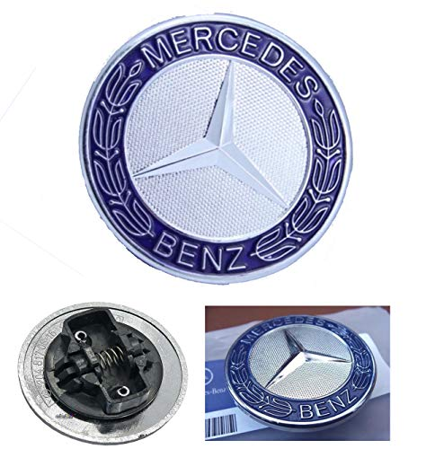 HNLJP Metal Flat Hood Emblem for Mercedes Benz C E SL Class Ornament Logo Blue 57MM