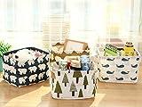 Ciaoed Kleine Baby Leinen Speicher Organizer Sets (Beige, Grau, Pink, Blau) Stoff Aufbewahrungsbox Organizer mit 2 Griffen auf beiden Seiten 20.5x17x15cm -Sets von 4 - 4