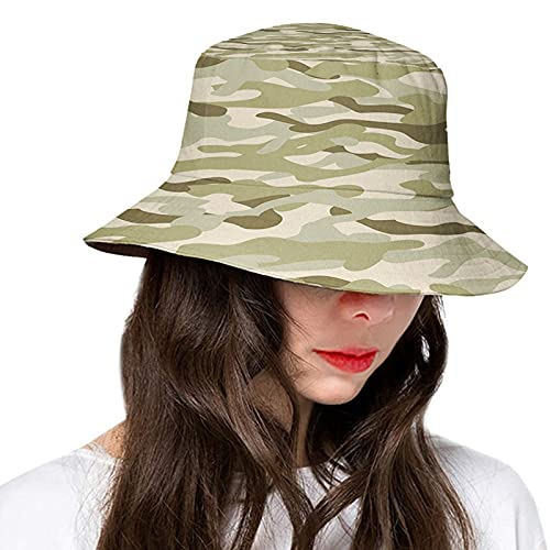 Camo Classical Camouflage Pattern Simplicity in Green Tones Graphic Bucket Hats Women Men Fashion Floppy Outdoor Sun UV Cap Packable Fisherman Hat Fawn Slate Brown Dusk and Eggshell