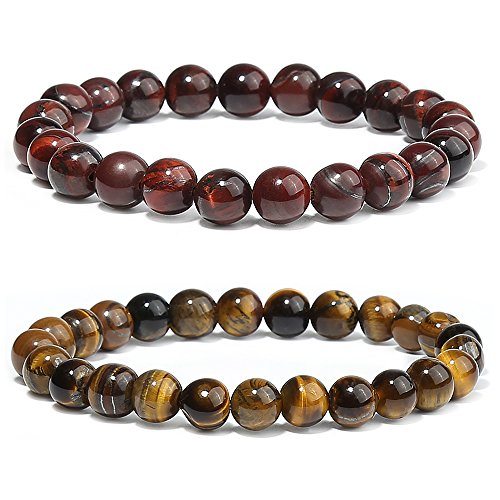 Merymall Stone Bracelet, Natural Gemstones Bracelet Lava Diffuser Bracelet,Genuine Howlite and Tiger Eye Semi-Precious Stone Healing Power Crystal Stretch Beaded Bracelet,Unisex