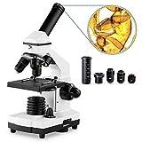 Microscopi 40X-1600X per Bambini Studenti Adulti, con Set di vetrini per microscopio, potenti...