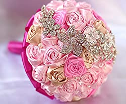 Pink Bride Holding Flowers Bouquet With Rhinestones