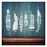 Feathers 6-Piece Stencil Kit - Trendy Wall Stencils for Wall décor - DIY Wall Design - by Cutting Edge Stencils
