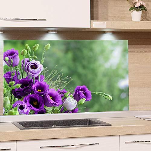 GRAZDesign Spritzschutz Glas für Küche Herd, Bild-Motiv Blumenstrauß in Lila, Küchenrückwand Küchenspiegel Glasrückwand / 100x50cm