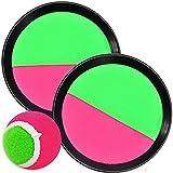 L + H WORLD Klettballspiel 19 cm in Premium Qualität | Fangballspiel Klett-Ballspiel für Kinder & Erwachsene | Hochwertiges Fangball-Spiel ideal als Spielzeug & Beschäftigung für Draussen im Garten